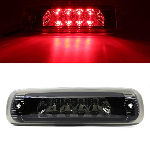 - High Mount Stop Tail Light, Rear Roof Center LED Third 3rd Brake Cargo Light Assembly Replacement for 1997-2001 Jeep Cherokee (Chrome Housing Smoke Lens)