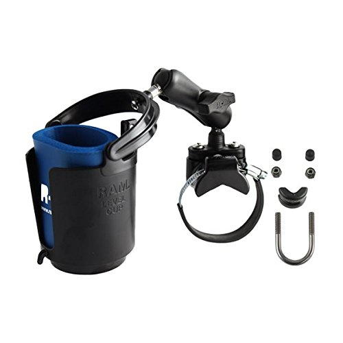 (RAM MOUNTS (RAM-B-132R-2 Strap Clamp, Roll Bar Mount with Double Socket Arm & Self-Leveling Drink Cup Holder (Cozy Included))