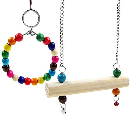 Perch Set - Alfie Pet by Petoga Couture - Joey Hanging Wooden 2-Piece Set Swing Toy for Birds