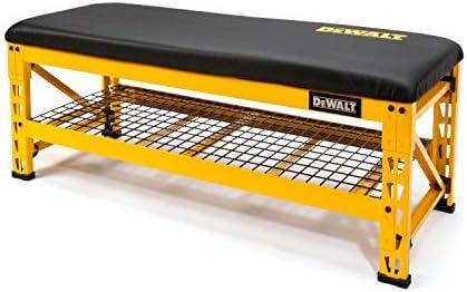 Dewalt Garage Bench with Wire Grid Storage Shelf, Rip-Resistant Foam-Padded Vinyl Seat, 1000-lb Capacity Bench Top, 1500-lb Capacity Shelf, Steel Frame, Nylon Feet