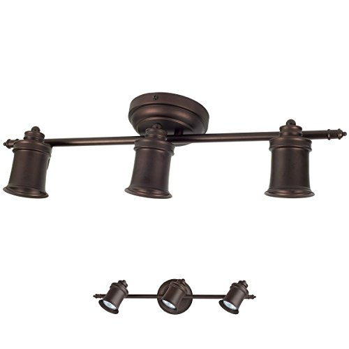 ALEDECO 3 Bulb Wall or Ceiling Mount Track Light Fixture Kitchen and Dining Room - Oil Rubbed Bronze ()