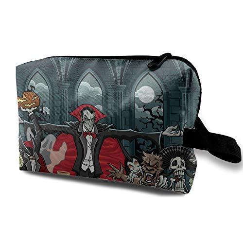 Halloween Dracula Vampire Characters Skull Multi-function Travel Makeup Toiletry Coin Bag Case -