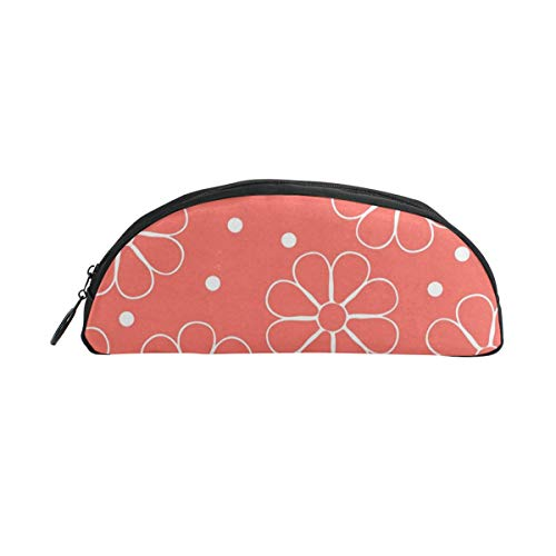 Architd Customize Orange Octagonal Flower and White Dots Cylindrical Pencil Bag, Pencil Box Zipper Stationery Bag, Wash Bag