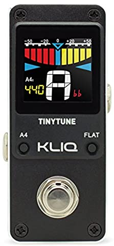 KLIQ TinyTune Tuner Pedal for Guitar and Bass - Mini - Chromatic - with Pitch Calibration and Flat Tuning (Power Supply (Small Tuner)