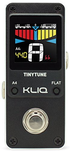 Board Chromatic Guitar Tuner (KLIQ TinyTune Tuner Pedal for Guitar and Bass - Mini - Chromatic - with Pitch Calibration and Flat Tuning (Power Supply Required))