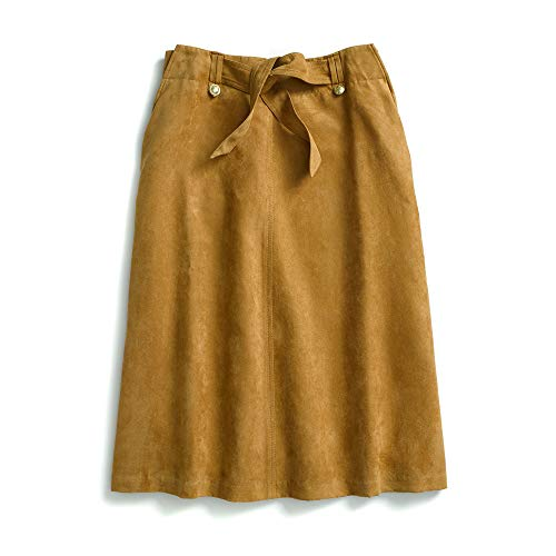 Tommy Hilfiger Women's Adaptive Midi Skirt Suede with Magnet Buttons, chipmunk/print, 4