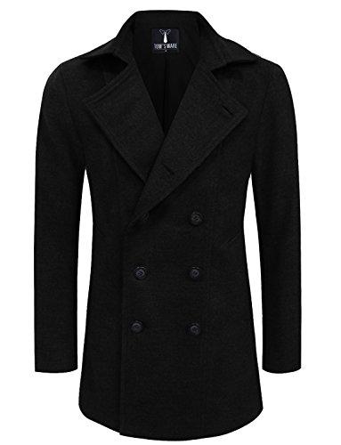 Slim Wool Jacket Coat (Tom's Ware Mens Premium Wool Blend Pea Coat TWNFD078J-BLACK-US M)