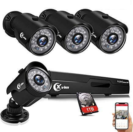 XVIM 8CH 1080P Security Camera System Home Security Outdoor 1TB Hard Drive Pre-Install CCTV Recorder 4pcs HD 1920TVL…