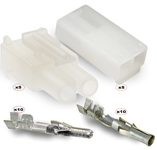 """2-Circuits .093"""" - MOLEX Connector, 5 Matched Set,14-20 AWG, Free Hanging, w/LOCK"""