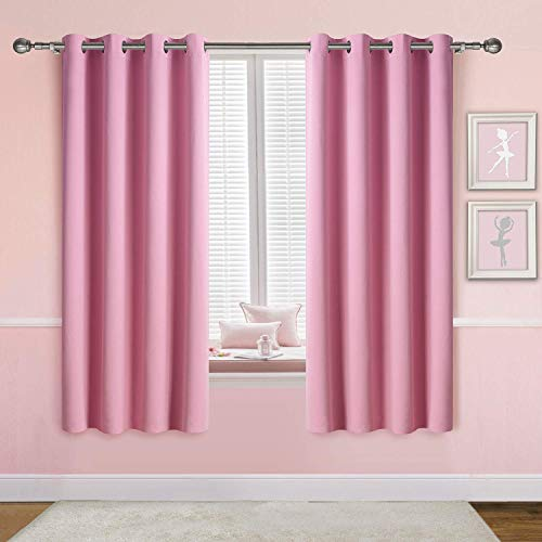 Anjee Thick Pink Blackout Curtains for Girls, 2 Panels 2 Tiebacks Grommet Window Draperies, Perfect for Room Darkening and Noise Reducing, 52 Inches Wide 63 Inches Long, Baby Pink