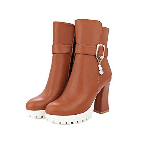 Allhqfashion Women's Solid High Heels Round Closed Toe Pu Zipper Boots with Charms Brown f6hdjekMj