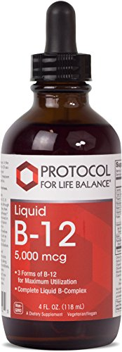 Protocol For Life Balance - Liquid Vitamin B-12 5,000 mcg - Complete Liquid B-Complex High in Folic Acid to Support Healthy Nervous & Digestive Systems, & Provide Energy Boost - 4 fl. oz. (118 mL)