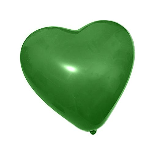 Green Heart Latex - 100 Pcs, 10 inch Heart Shaped Latex Party Decoration Ballons for Wedding Propose Birthday, Green