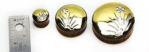 Elementals Organics Sono Wood Plug for Ear Ear Gauge with Bronze Whispering Meadows Negative Space Art Inlay