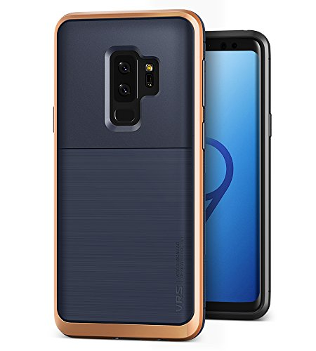:: VRS :: Dual Layer Rugged Hard Drop Protection Slim Thin Fit Full Body Heavy Duty Cover for Samsung Galaxy S9 Plus (High Pro Shield – Indigo/Blush Gold) (Full Body Shield Protector)