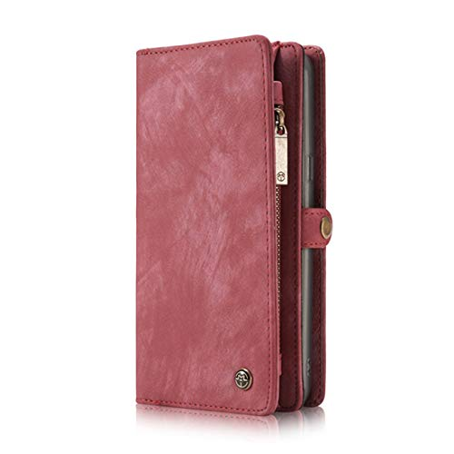 FuriGer Wallet Case for Samsung Galaxy Note 9, Detachable Magnetic Case,Premium PU Leather Wallet Case, Zipper Wallet Case,Magnetic Closure Case with Card Slots for Samsung Galaxy Note 9 - Pink by FuriGer