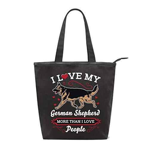 Women's Handbags Canvas Shoulder Bags I Love My German Shepherd More Than People Handbag Retro Casual Tote Purses