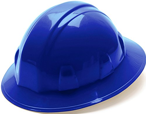 Pyramex Safety SL Series Full Brim Hard Hat, 6-Point Ratchet Suspension, Blue