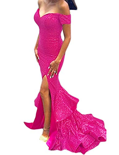 Off Shoulder Mermaid Sequins Split Side Prom Evening Dresses Long Fuchsia Size 12 ()