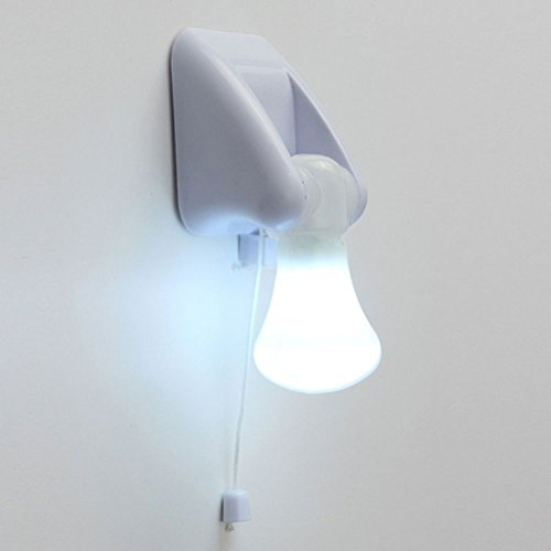 Pixnor Portable Wire LED Bulb Cabinet Lamp Night Light Battery Operated Self Adhesive Wall Mount Light