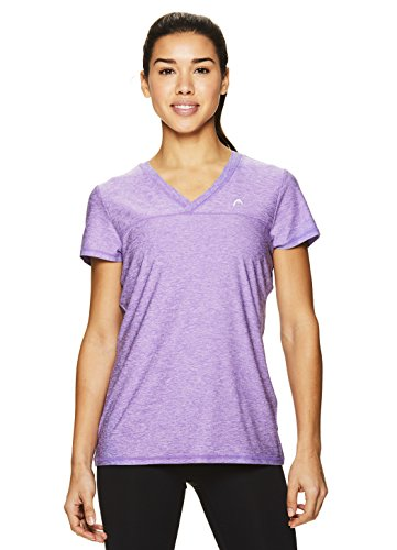HEAD Women's High Jump Short Sleeve Workout T-Shirt - Performance V-Neck Activewear Top  - Chive Blossom Heather, Small
