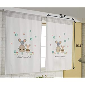 Tori bebe Cute Playroom Baby Kid's Room Curtains for Small Windows 1 Panel (My Mouse Friend)