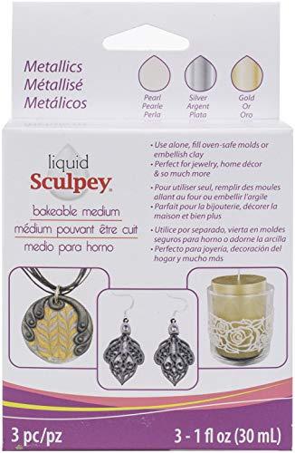 Polyform ALSMET1 Sculpey Liquid Polymer Clay - Basics 3/Pkg Pearl Silver Gold, Multicolor