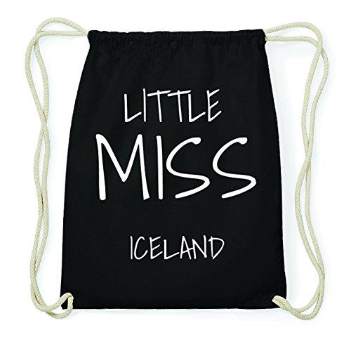 JOllify ICELAND Hipster Turnbeutel Tasche Rucksack aus Baumwolle - Farbe: schwarz Design: Little Miss