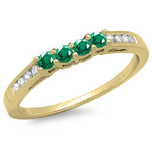 Dazzlingrock Collection 14K Round Emerald & Diamond Ladies Bridal Anniversary Wedding Band Ring, Yellow Gold, Size 7
