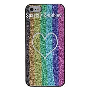 comprar Brillante color del arco iris rayas y corazón Caso duro del patrón con mate para el iPhone 5/5S