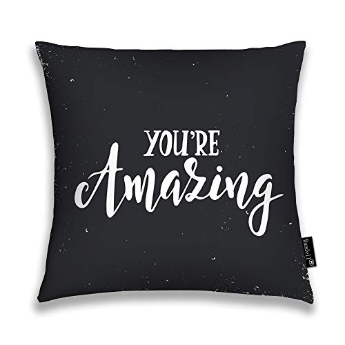 Randell Decorative Throw Pillow Case Quote Smile The Beginning of Love Drawn Cusuphion Cover Square 18 x 18 Inches ()