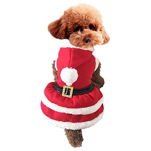 [MEWTOGO Pet Dog Cat Christmas Costume-Santa Dog Cat Clothes (M, Santa Dress)] (Pug Costumes For Christmas)