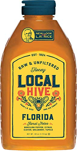 Local Hive from L.R Rice, Raw Honey, Pure and Unfiltered, Local Florida Beekeepers, 40oz