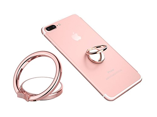 Phone Ring Finger Holder, Stand & Mirror - MAXIMEST 360° Grip & Kickstand Accessory for Cell Phone iPhone 6 7 8 Plus X, Samsung Galaxy S6 S7 S8 Note 8, (Rose Finger Ring)