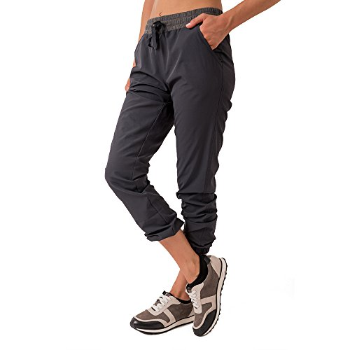 RBX Active Women's Lightweight Stretch Woven Jogger Pants Grey L