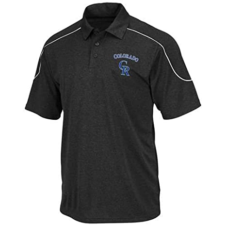 cab61453 Majestic Colorado Rockies Run Down Synthetic Polo Shirt Black Big & Tall  Sizes ...