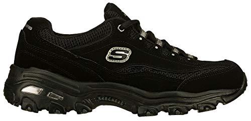 Skechers Women's D'Lites Original Lace-Up Sneaker, Black/Black, 9.5 M ()