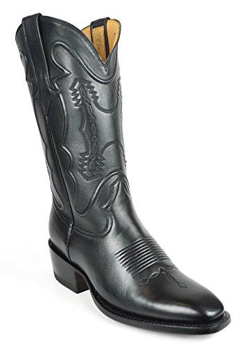 - Gavel Men's Classic Handcrafted Black Goatskin French Toe w/Emb Cowboy Western Boot (8.5 2E US)