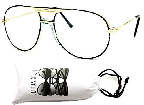 [A3045-vp Style Vault Metal Aviator Clear Lens Eyeglasses Sunglasses (B1359F Brown/gold-clear)] (80s Style Men)