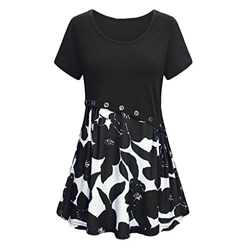 Sunhusing Womens Solid Color Round Neck Flower Print Button Stitching Short-Sleeve Mini Pleated Short Dress - Couture Clothes Dog Juicy