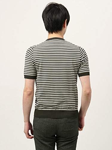 (ザ・スーツカンパニー) ウォッシャブル/WE SUIT YOU/コットンブレンド ボーダー柄クルーネックニットTシャツ ブラック×ミディアムグレー×ホワイト