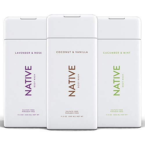 Native Body Wash 3 Pack - Natural Body Wash Women & Men - SLS & Paraben Free - Naturally Derived Ingredients - Cucumber & Mint, Coconut & Vanilla, Lavender & Rose