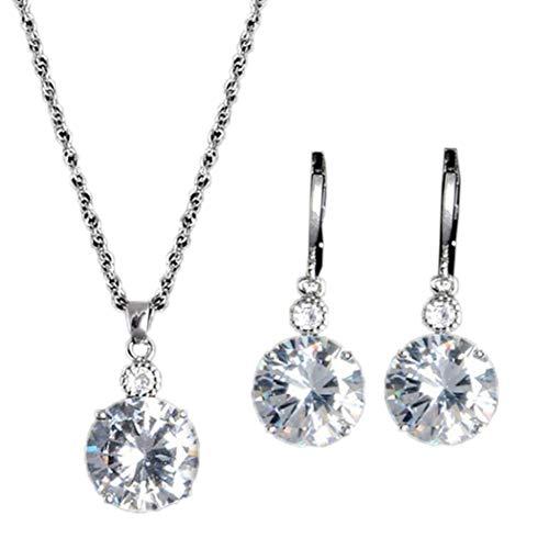 Asatr Women Jewelry Fashion Round Rhinestone Drop Earrings Necklace Set Jewelry Sets