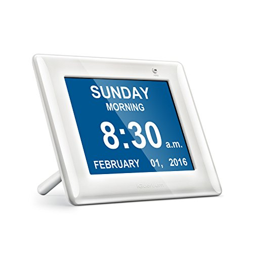 Upgraded with Parts of the Day & Alarm - iGuerburn Digital Talking Family Clock Calendar - Great for the Elderly (Especially Dementia & Vision Impairment) & Kids - Specular Reflective White 8