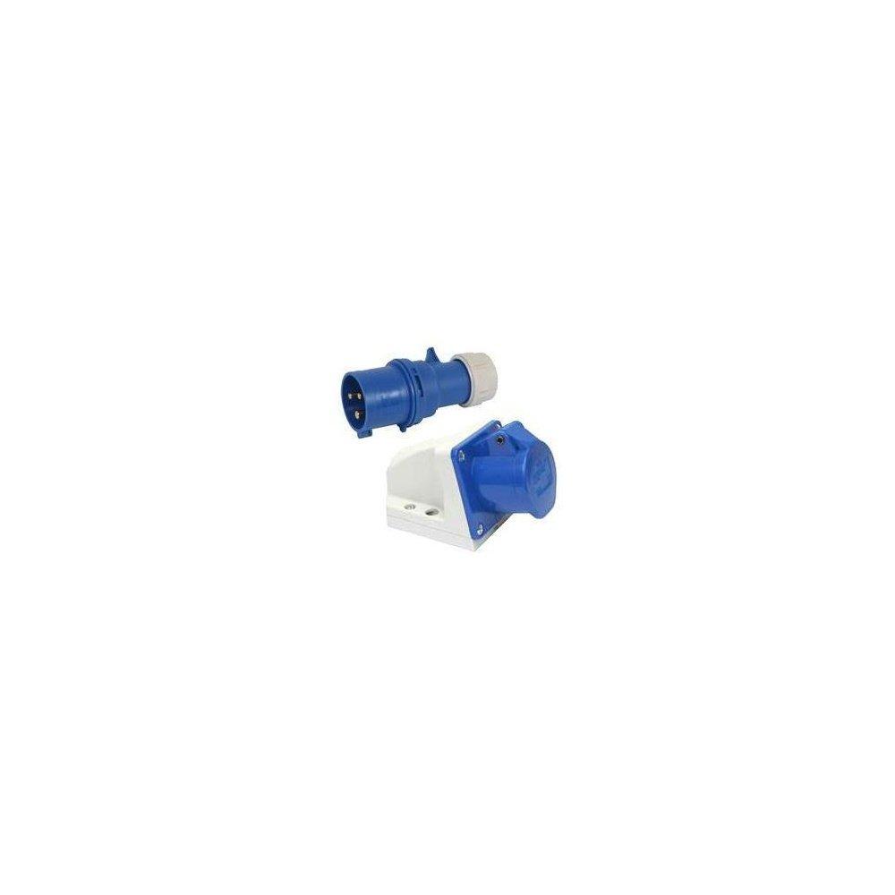 32 Amp 3 Pin Plug & Panel Socket Blue 240v Garage Workshop Single 1 Phase EL/K1002K