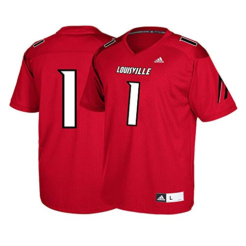 adidas Louisville Cardinals #1 NCAA Youth Red Official Football Replica Jersey (S) 1 Cardinal Replica Football Jersey
