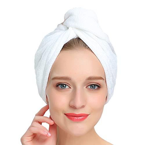 AuroTrends Super Absorbent Anti-Frizz Microfiber Hair Towel Hair Turban Towel Wrap - Drastically Reduce Hair Drying Time (Elegant White) (2Pack) - Absorbent Hair Towel