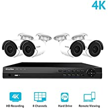 LaView 8 Channel Ultra HD 4K Home Security Camera System with 4 x 8MP IP Bullet Cameras, 100ft Night Vision, Weatherproof Expandable Surveillance Camera System NVR 2TB HDD