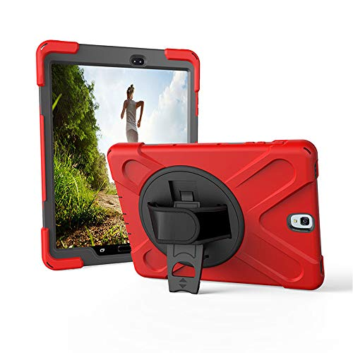 Galaxy Tab S4 10.5 T830 Case by KIQ Shockproof Heavy Duty Military Armor Kybrid Case Cover Kickstand for Samsung Galaxy Tab S4 10.5 SM-T830 (Shield Red) (Samsung Tablet Military Case)