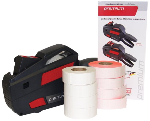 Contact Labeler (Contact Premium Price Marking Kit, Grey Labeler with 4 Rolls of Florescent Red Labels, 4 Rolls of White Labels and 1 Ink Roller (88.22))